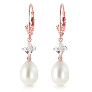 EARRING WITH WHITE TOPAZ & PEARLS